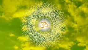 Mandala à jour contre le ciel dans une tonalité jaune et verte vidéo illustration stock