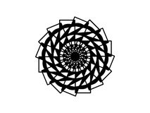 Mandala énervé noir sur le fond blanc Mandala avec le vecteur d'illusion de mouvement Calibre rond de timbre illustration de vecteur