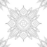 Mandala étnica com elementos florais e folhas, ilustração para colorir Foto de Stock