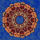 Mandala étnica del ornamento del vector del vintage encendido profundamente Fotografía de archivo
