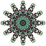Mandala για την τέχνη, τον ενήλικο και τα παιδιά που χρωματίζουν το βιβλίο, zendoodle Το χέρι που σύρεται γύρω από zentangle μπορ Στοκ Εικόνα