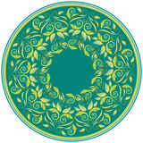 mandala Διακοσμητικό στρογγυλό σχέδιο με τα φύλλα Διανυσματική τυπωμένη ύλη Στοκ φωτογραφία με δικαίωμα ελεύθερης χρήσης