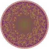 mandala Διακοσμητικό στρογγυλό σχέδιο με τα φύλλα και spikelets Διανυσματική τυπωμένη ύλη Στοκ εικόνα με δικαίωμα ελεύθερης χρήσης