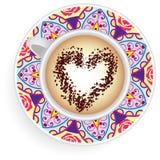 Mandala κουπών καφέ διανυσματική απεικόνιση