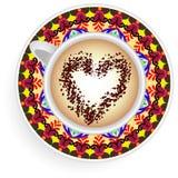 Mandala κουπών καφέ Απεικόνιση αποθεμάτων