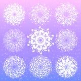 Mandala με τα ιερά σύμβολα και τα στοιχεία γεωμετρίας Στοκ εικόνα με δικαίωμα ελεύθερης χρήσης