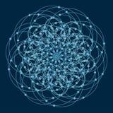 Mandala με τα ιερά σύμβολα και τα στοιχεία γεωμετρίας Στοκ Εικόνα