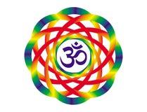 Mandala ουράνιων τόξων με ένα σημάδι Aum OM Αντικείμενο τέχνης διανυσματική απεικόνιση
