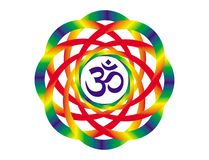 Mandala ουράνιων τόξων με ένα σημάδι Aum OM Αντικείμενο τέχνης Στοκ φωτογραφίες με δικαίωμα ελεύθερης χρήσης