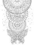 Mandala, πεταλούδα και διακοσμητικά σχέδια, δερματοστιξία, σκίτσο Στοκ Εικόνες
