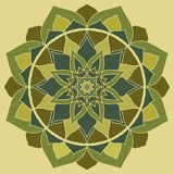 Mandala πράσινο, ασιατική διακόσμηση Chakra Mandala καρδιών διανυσματική απεικόνιση