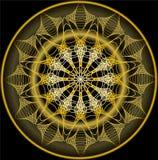 Mandala στο χρυσό για τη λήψη zen Πολυτελή filigree σχέδια κεντητικής Στοκ Φωτογραφία