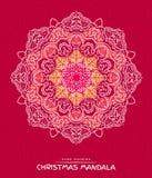 Mandala Χριστουγέννων με τα διακοσμητικά στοιχεία διακοπών στο κόκκινο Στοκ Εικόνες