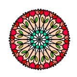 Οι τουλίπες δίνουν το συρμένο μινιμαλισμό απεικόνισης mandala με τα φωτεινά χρώματα διανυσματική απεικόνιση
