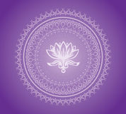 Mandala. Violet mandala with lotus in center Royalty Free Stock Photo