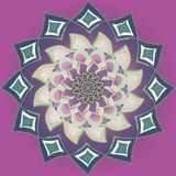 Purple dahlia flower mandala in plane purple background, pastel color pallet in vintage style stock illustration