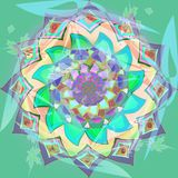 DAHLIA FLOWER MANDALA IN PASTEL COLORS, PURPLE, TURQUOISE, AQUAMARINE, GREEN, PINK, DECORATIVE IMAGE WITH TRANSPARENCY royalty free stock photography