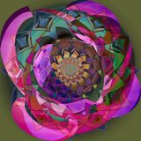 INDIAN ROUND FLOWER MANDALA. COLORFUL IMAGE N PURPLE, GREEN,  BLUE PALLET, WITH A PLANE OLIVE BACKGROUND royalty free illustration