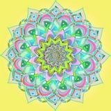 FLORAL VINTAGE MANDALA. PLAIN YELLOW BACKGROUND. ORIENTAL FLORAL DESIGN stock illustration