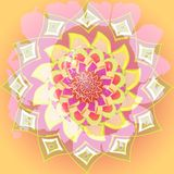 INDIAN MANDALA FLOWER. PASTEL COLORS PALLET. PLAIN YELLOW BACKGROUND. INDIAN MANDALA FLOWER. SUNFLOWER IN PINK. CENTRAL FLOWER IN YELLOW stock illustration