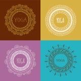 Βοημίας υπόβαθρο Mandala και γιόγκας με στρογγυλό Στοκ Εικόνα