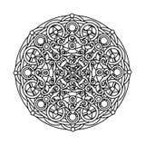 Περίγραμμα, μονοχρωματικό Mandala εθνικό, θρησκευτικό στοιχείο σχεδίου Στοκ Εικόνα