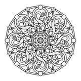 Περίγραμμα, μονοχρωματικό Mandala εθνικό, θρησκευτικό στοιχείο σχεδίου Στοκ Φωτογραφίες