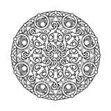 Περίγραμμα, μονοχρωματικό Mandala εθνικό, θρησκευτικό στοιχείο σχεδίου Στοκ Φωτογραφία