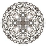 Περίγραμμα, μονοχρωματικό Mandala εθνικό, θρησκευτικό στοιχείο σχεδίου με ένα κυκλικό σχέδιο Στοκ εικόνα με δικαίωμα ελεύθερης χρήσης