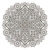 Περίγραμμα, μονοχρωματικό Mandala εθνικό, θρησκευτικό στοιχείο σχεδίου με ένα κυκλικό σχέδιο Στοκ φωτογραφίες με δικαίωμα ελεύθερης χρήσης