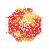 Mandala above colorful watercolor spot. Vintage Round Ornament P Stock Photos