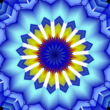 Mandala abstract blurred image. In blue, yellow and white hues. Abstract texture and design Stock Photography