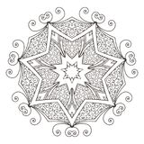 Mandala. Abstract decorative background. Islam, Arabic, oriental, indian, ottoman, yoga motifs. Vector illustration for coloring pages Royalty Free Stock Photos
