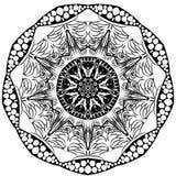 mandala abstrakcyjne kółkowy monochromu wzór Obraz Stock