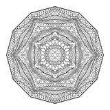 Mandala With African Ornament noire et blanche Photographie stock
