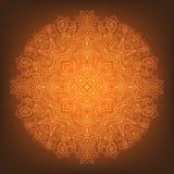 Mandala alaranjada de incandescência em um fundo do inclinação Imagem de Stock Royalty Free