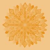 Mandala alaranjada macia Isolado em volta do elemento Fotografia de Stock Royalty Free