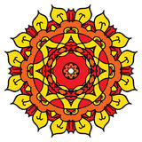 Mandala amarela brilhante do vetor Isolado em volta do elemento Fotos de Stock
