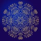 Mandala, amulet. Esoteric gold symbol on a blue background. Royalty Free Stock Photo
