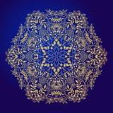 Mandala, amulet. Esoteric gold symbol on a blue background. Stock Photos