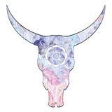 Mandala animal skull in watercolors  inspired by hand drawn art and native American people Stock Photo