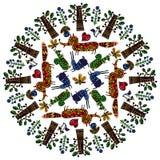 Mandala with animals. Stock Images