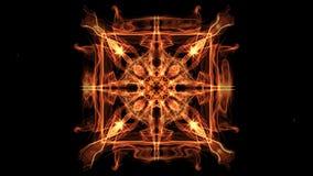 Mandala animata di frattale quadrato ardente, video astratto nella forma simmetrica arancio, rossa e gialla, piacevole video d archivio