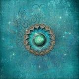 Mandala antigua en azul ilustración del vector