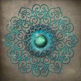 Mandala antique gravé à l'eau-forte en turquoise photographie stock