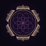 Mandala antycznej geometrii święty symbol Duchowy geometrical kształt na ultrafioletowym tle ilustracja wektor