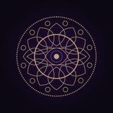 Mandala antycznej geometrii święty symbol Duchowy geometrical kształt na ultrafioletowym tle ilustracji