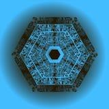 Mandala auf einem blauen Hintergrund eingeschrieben in einem Hexagon Stockfotografie