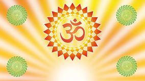 Mandala with the Aum / Om / Ohm sign against the background of the rotating rays of the rising sun.
