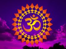 Mandala with the Aum / Om / Ohm sign on the background of blue and purple sky. Mandala with the Aum / Om / Ohm sign on the background of the setting sun in Royalty Free Illustration